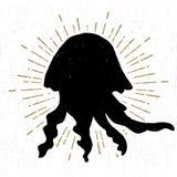 Wręcza patroszoną rocznik ikonę z textured jellyfish wektoru ilustracją Zdjęcia Royalty Free