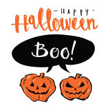 Wręcza patroszoną Szczęśliwą Halloweenową mowa balonu wiadomość i banie, Zdjęcie Royalty Free