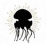 Wręcza patroszoną textured rocznik ikonę z jellyfish wektoru ilustracją Obrazy Royalty Free