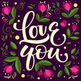 Wręcza patroszoną typograficzną inskrypcję, pisze list projekt miłości ty ilustracja wektor