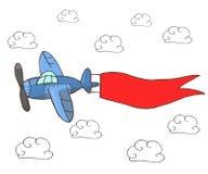 Wręcza patroszoną wektorową ilustrację, błękita samolot z czerwonym faborkiem royalty ilustracja