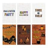 Wręcza patroszoną wektorową ilustrację Halloweenowy kartka z pozdrowieniami set Obraz Stock