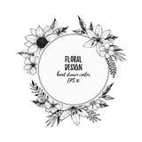 Wręcza patroszoną wektorową ilustrację - round karta z czerń kwiatami a Zdjęcia Stock