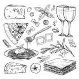 Wręcza patroszoną wektorową ilustrację - Włoscy karmowi Różni rodzaje Zdjęcie Stock