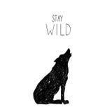 Wręcza patroszoną wektorową ilustrację z dzikim lasowym wilkiem Zdjęcia Royalty Free