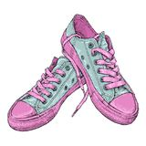 Wręcza patroszoną wektorową ilustrację z parą sneakers royalty ilustracja