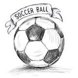 Wręcza patroszoną wektorową ilustrację z piłka nożna sztandarem i piłką royalty ilustracja