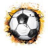 Wręcza patroszoną wektorową ilustrację z piłki nożnej piłką i grunge ilustracji