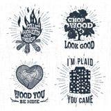 Wręcza patroszone odznaki ustawiać z ogniskiem, dębowym drzewem, drzewnym bagażnikiem i szkockiej kraty koszula ilustracjami, Zdjęcia Stock