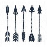 Wręcza patroszone plemienne ikony ustawiać z textured strzała wektoru ilustracją Obraz Royalty Free