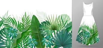 Wręcza patroszone realistyczne gałąź i liście tropikalne rośliny Żywy kreskowy horyzontalny liścia wzór rabatowy zielony bezszwow royalty ilustracja