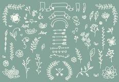 Wręcza patroszone rocznik strzała, piórka, dividers i kwiecistych elementy, Zdjęcie Stock