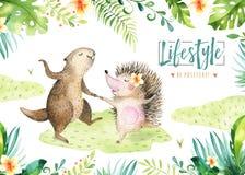 Wręcza patroszonego akwarela bobra, jeża i dancingowi zwierzęta Boho ilustracje, dżungli drzewo, Brazil modna sztuka _ royalty ilustracja
