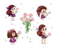 Wręcza patroszonego artystycznego portret mała śliczna dziewczyna z róża bukieta pozycją ustawiającą odizolowywającą na białym tl Obrazy Stock