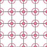 Wręcza patroszonego bezszwowego wzór stylizowane czarne komórki i czerwony circ royalty ilustracja