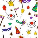 Wręcza patroszonego bezszwowego wzór Żydowski wakacyjny Purim: karnawał maski i kapelusze, tradycyjni Hamantaschen ciastka Fotografia Royalty Free