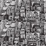 Wręcza patroszonego bezszwowego wzór z dużym miastem Nowy Jork ilustracji