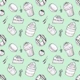 Wręcza patroszonego bezszwowego wzoru set torty, pączek, macaroon, cukierek, słodka bułeczka z ziele na nowym tle ilustracji