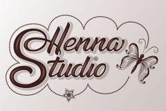 Wręcza patroszonego dekorującego pisze list henny studio z cieniem i głównymi atrakcjami Wektorowa atrament ilustracja Szablon dl ilustracja wektor