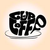 Wręcza patroszonego filiżanki czerni literowanie z zwrotem 'filiżanka kawy' ilustracji