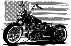 Wręcza patroszonego i inked rocznika Amerykański siekacza motocykl z flaga amerykańską royalty ilustracja