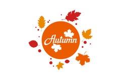 Wręcza patroszonego jesieni literowanie, barwiony jesieni pojęcie odizolowywający na białym tle, colour jesień liście ilustracja, royalty ilustracja