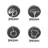 Wręcza patroszonego kaligrafii kucharstwo, kuchnia loga, ikonę i etykietkę, Zdjęcia Stock