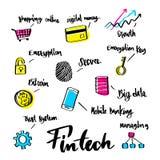 Wręcza patroszonego o Fintech ikony literowania i pojęcia kaligrafii Fotografia Royalty Free