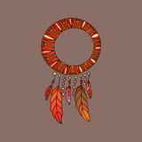 Wręcza patroszonego ozdobnego Dreamcatcher z piórkami, gemstones również zwrócić corel ilustracji wektora Karta z sztuką, astrolo Royalty Ilustracja