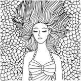 Wręcza patroszonego pięknego dziewczyny dosypianie na kwiatach dla projekta elementu i kolorystyki książki strony również zwrócić Zdjęcie Royalty Free