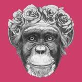 Wręcza patroszonego portret małpa z kwiecistym kierowniczym wiankiem royalty ilustracja