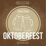 Wręcza patroszonego reklama plakat dla Oktoberfest piwnego festiwalu z piwem również zwrócić corel ilustracji wektora Obrazy Royalty Free