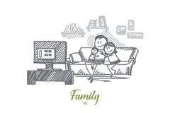 Wręcza patroszonego rodzinnego ogląda TV na kanapie wpólnie ilustracja wektor