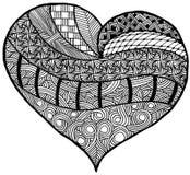 Wręcza patroszonego serce z use zentangle, plemiennego i doodle styl, Mógł używać jako kolorystyki strona lub dla St walentynki ` Zdjęcie Royalty Free