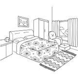 Wręcza patroszonego sypialnia dla projekta elementu i dorosły kolorystyki książki strony również zwrócić corel ilustracji wektora Zdjęcie Stock