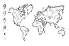Wręcza patroszonego, szorstkiego nakreślenia światową mapę z doodle szpilkami, Zdjęcia Stock