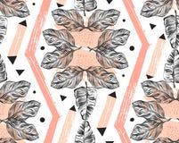 Wręcza patroszonego wektorowego abstrakcjonistycznego freehand textured bezszwowego tropikalnego deseniowego kolaż z geometryczny ilustracja wektor