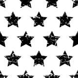 Wręcza patroszonego wektorowego bezszwowego wzór z czarnymi gwiazdami dalej ilustracji