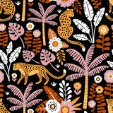 Wręcza patroszonego wektorowego bezszwowego wzór z lampartami, drzewkami palmowymi i egzot roślinami na czarnym tle, royalty ilustracja