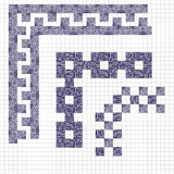 Wręcza patroszonego wektorowego kreskowej granicy projekta i setu element nakreślenie ilustracji