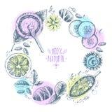 Wręcza patroszonego wektorowego round wianku tło, organicznie kosmetyki, sp Zdjęcia Royalty Free