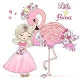Wręcza patroszonej ślicznej Małej Princess dziewczyny z flamingiem również zwrócić corel ilustracji wektora zdjęcie stock