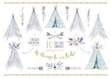 Wręcza patroszonej akwareli plemiennego teepee, odosobniony biały campsite dziesięć royalty ilustracja