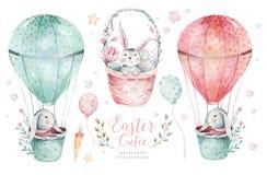 Wręcza patroszonej akwareli szczęśliwego Easter ustawiającego z królika projektem Królika czecha styl, odosobneni jajka ilustracy royalty ilustracja