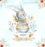 Wręcza patroszonej akwareli szczęśliwego Easter ustawiającego z królika projektem Królika czecha styl, odosobniona boho ilustracj royalty ilustracja