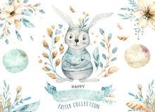 Wręcza patroszonej akwareli szczęśliwego Easter ustawiającego z królika projektem Królika czecha styl, odosobniona boho ilustracj ilustracja wektor
