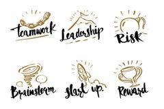 Wręcza patroszonej kaligrafii biznesowych pojęcia, praca zespołowa, przywódctwo, Obrazy Royalty Free