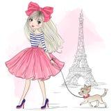 Wręcza patroszonej pięknej, ślicznej mody dziewczyny z ładnym psim chihuahua, ilustracja wektor
