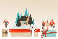 Wręcza patroszonej wektorowej abstrakcjonistycznej zabawie Wesoło boże narodzenia i Szczęśliwą nowego roku czasu kreskówkę ilustr royalty ilustracja