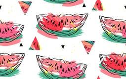 Wręcza patroszonemu wektorowemu abstrakcjonistycznemu kolażowi bezszwowego wzór z arbuza trójboka i motywu modnisia kształtami od Obraz Royalty Free